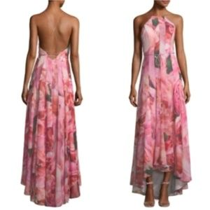 NWT Phoebe Couture Pink Watercolor Floral Gown